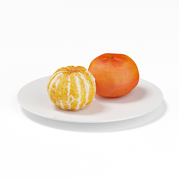 Tangerines on White Plate - 3DOcean Item for Sale