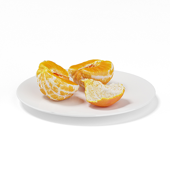 Halved Tangerine on White Plate - 3DOcean Item for Sale