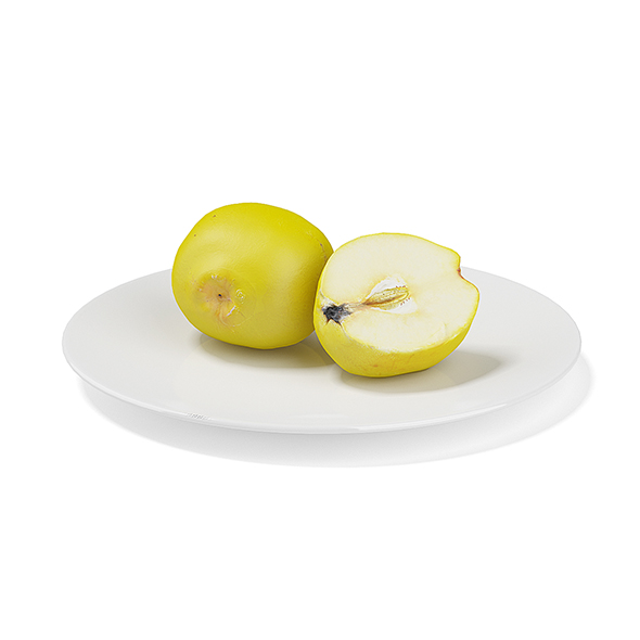 Quince on White Plate - 3DOcean Item for Sale