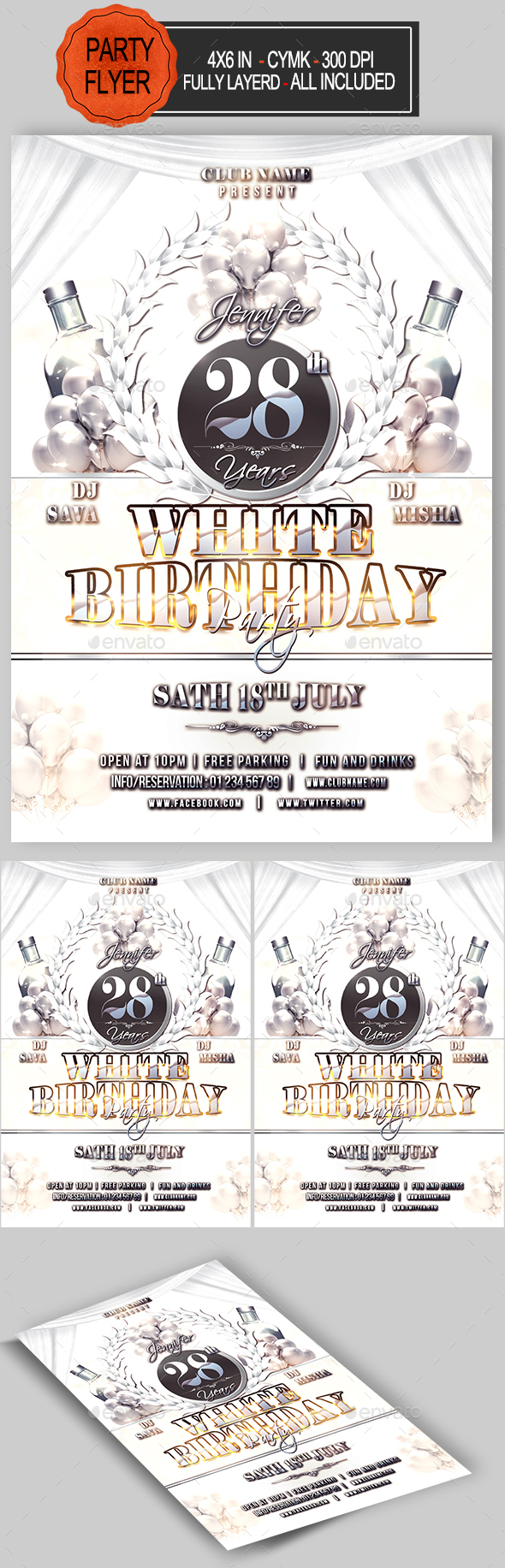 White Birthday Party Flyer - Clubs & Parties Events