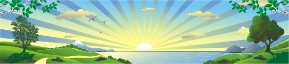 Panorama of the Sunrise Over the Bay - Landscapes Nature