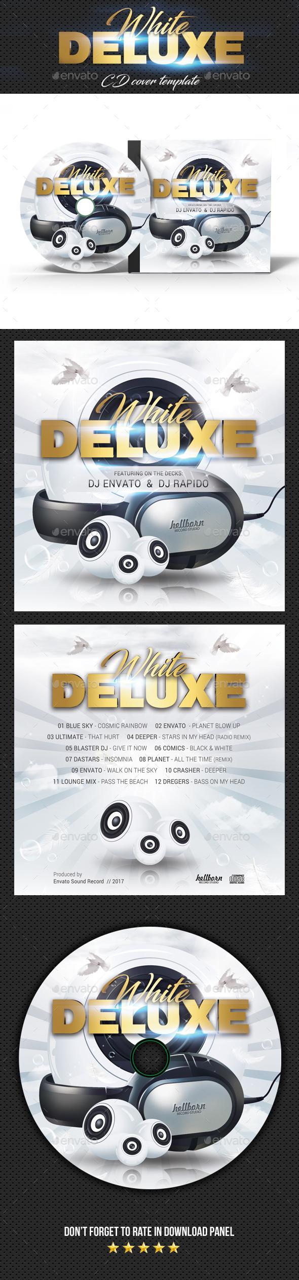 White Deluxe CD Cover - CD & DVD Artwork Print Templates