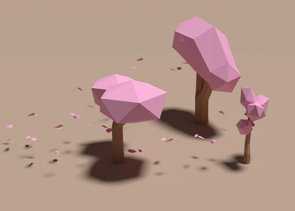 Sakura Tree Low Poly - 3DOcean Item for Sale