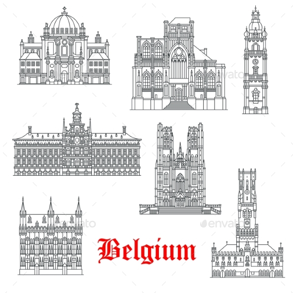 Architecture Buildings of Belguim Vector Icons - Buildings Objects