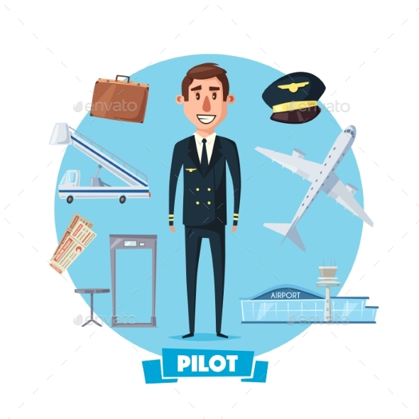 Pilot Profession Man and Flight Items - People Characters