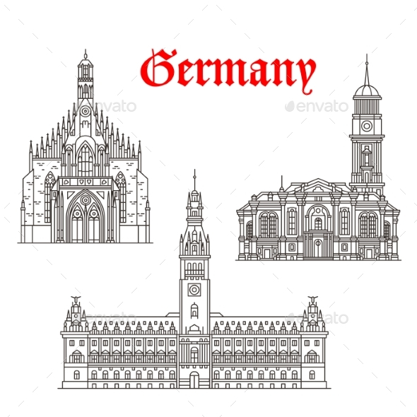 Architecture Buildings of Germany Vector Icons - Buildings Objects