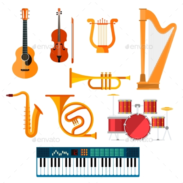 Musical Wind, Key or String Vector Instruments - Man-made Objects Objects