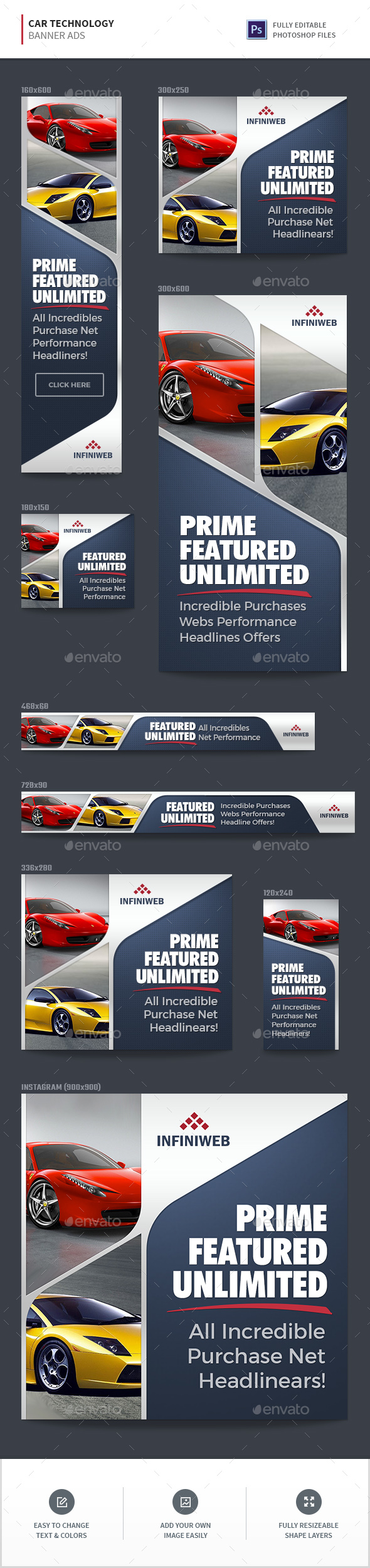Car Technology Banner Ads - Banners & Ads Web Elements