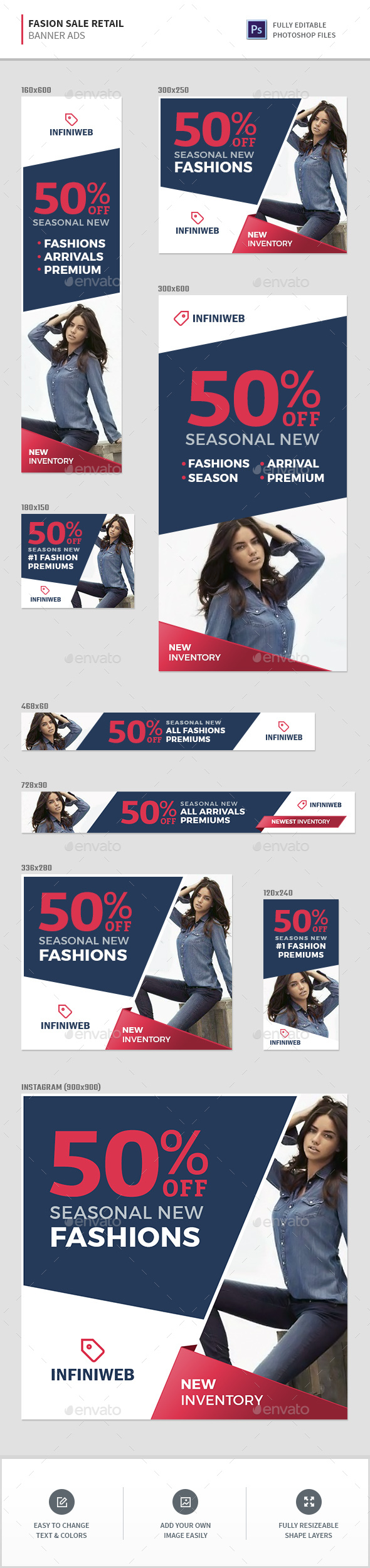 Fashion Sale Retail Banners - Banners & Ads Web Elements