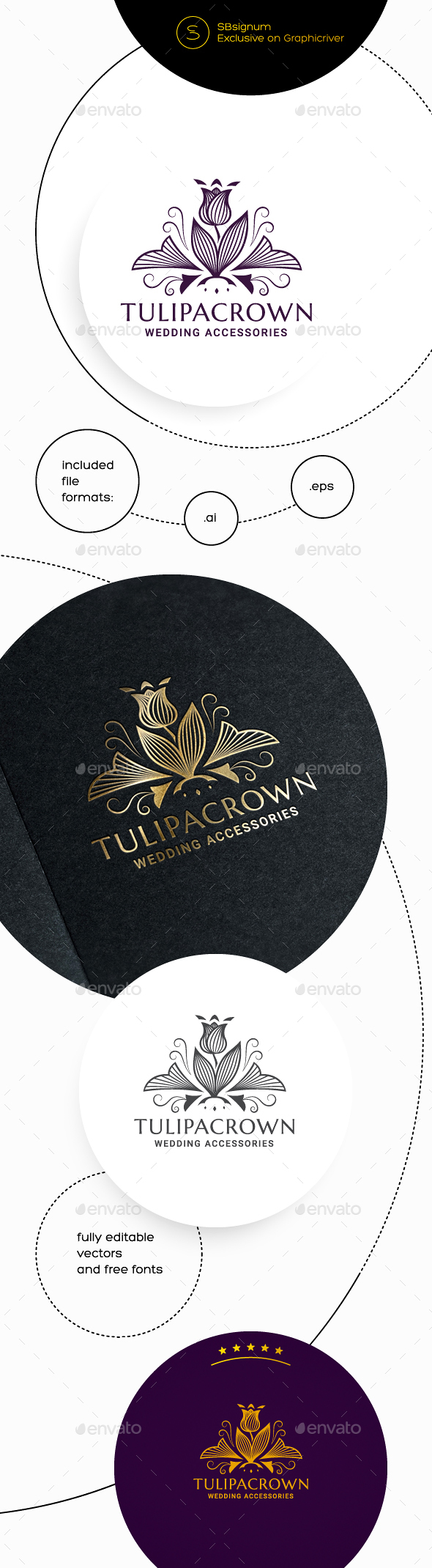 Tulipa Crown Logo Template - Crests Logo Templates