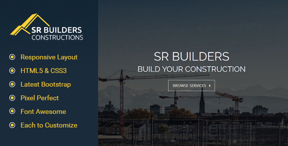 SR Construction - Construction Business HTML5 Responsive Template - Business Corporate