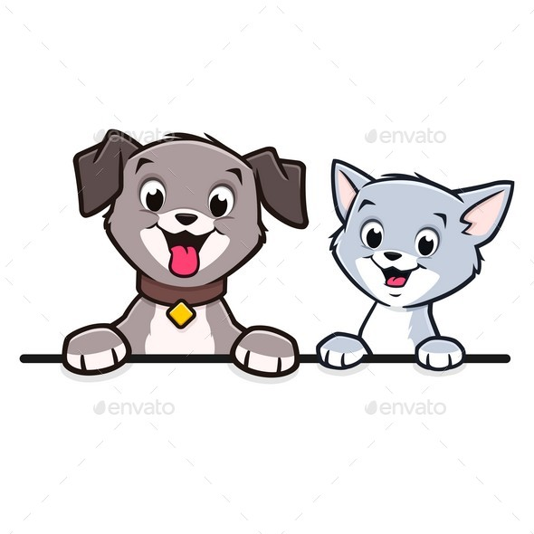 Cartoon Dog Cat Animal Frame  Border - Animals Characters
