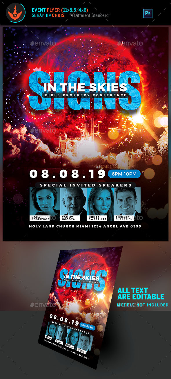 Signs in the Skies Church Flyer Template - Church Flyers