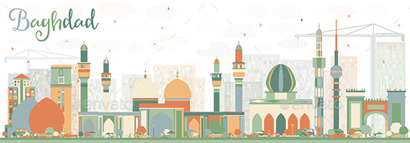 Abstract Baghdad Skyline with Color Buildings. - Buildings Objects