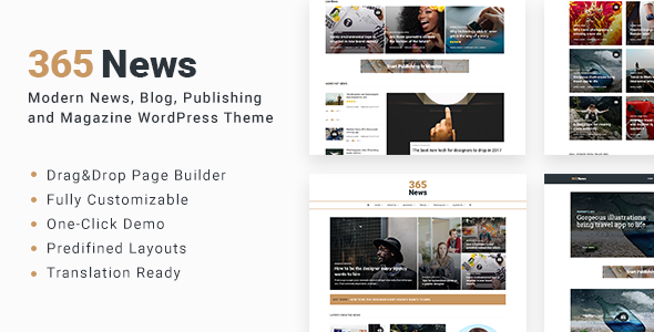 365 News – News Blog Publishing Magazine WordPress Theme
