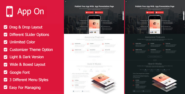 App on - Responsive App Landing WordPress Theme