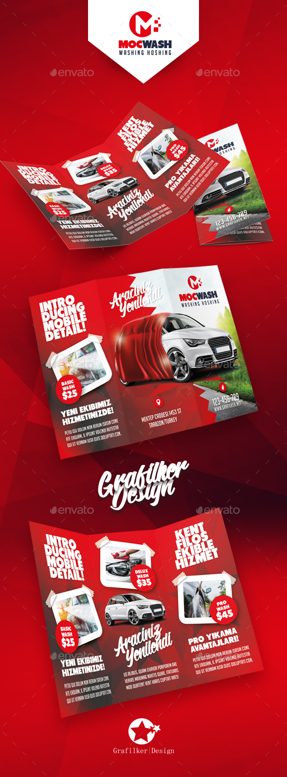 Car Wash Tri-Fold Templates - Brochures Print Templates
