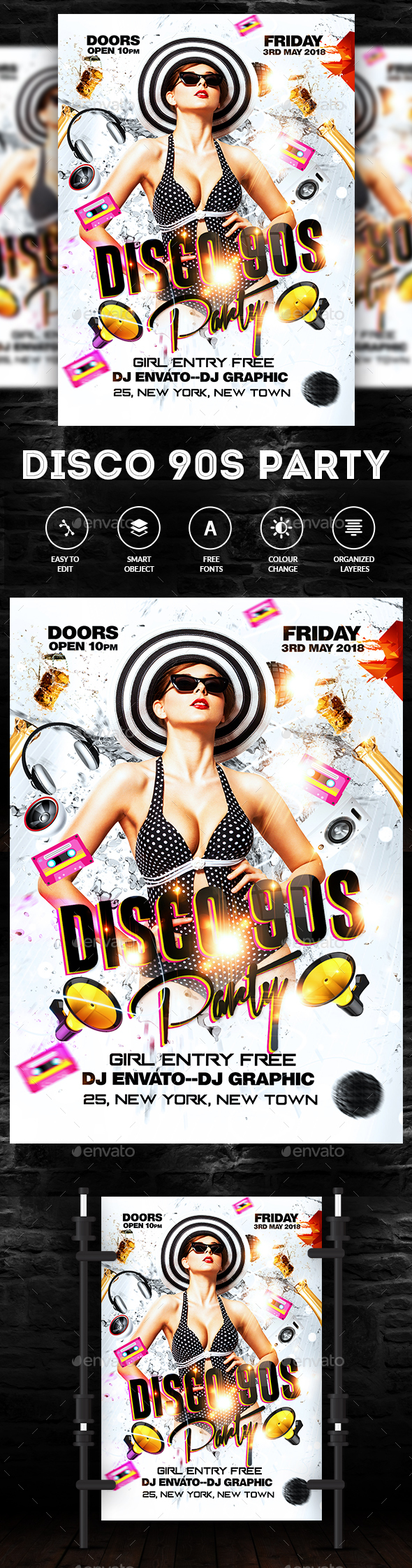 Disco 90s Flyer - Events Flyers