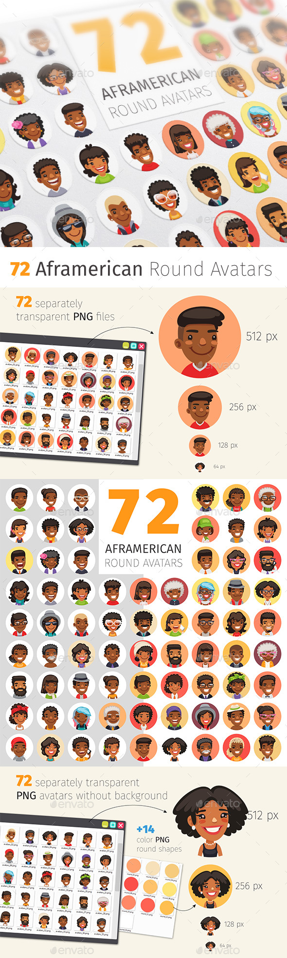 Flat African American Round Avatars - People Characters
