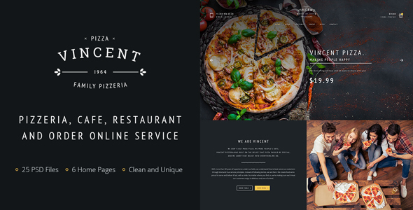 Vincent PSD – Restaurant Pizza Cafe and Online Delivering Template