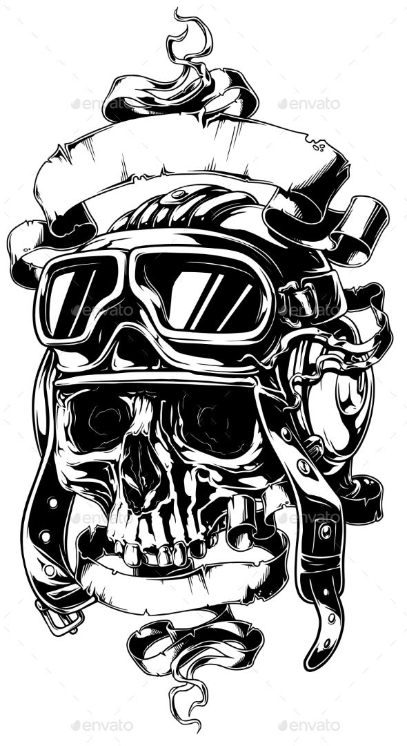 Detailed Human Skull in Helmet with Ribbons Tattoo - Tattoos Vectors