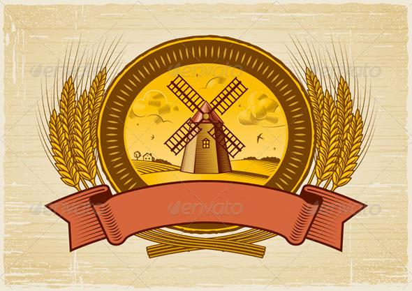 Cereal Harvest Label - Decorative Symbols Decorative