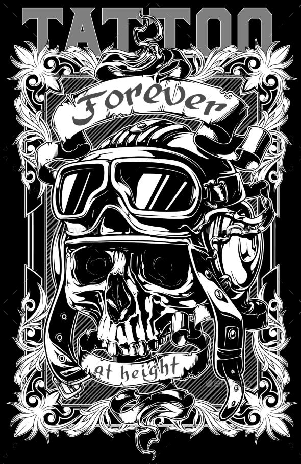 Graphic Tattoo Skull Poster Design - Tattoos Vectors