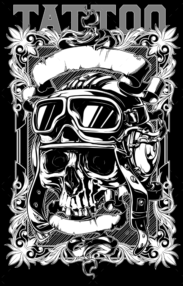Human Skull in Pilot Helmet with Decorative Frames - Tattoos Vectors