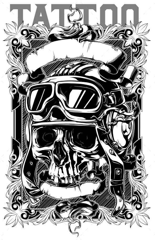 Retro Human Pilot Skull Tattoo with Ribbons Design - Tattoos Vectors