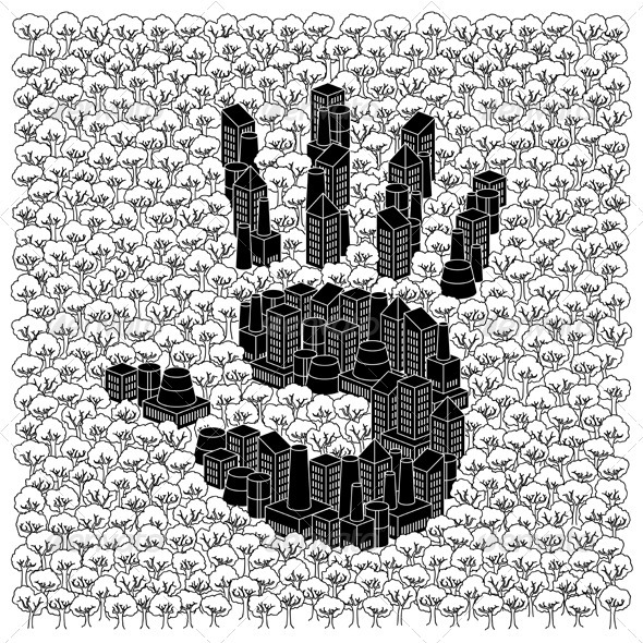 Save The Forests Concept: Hand Print - Conceptual Vectors