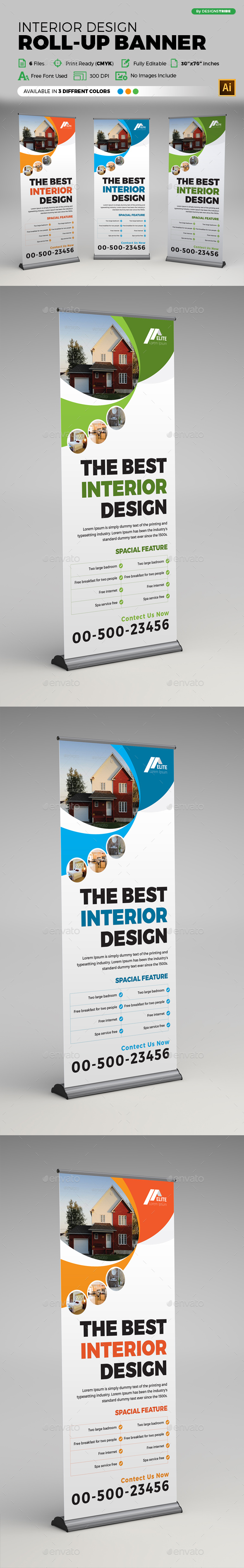Interior Design Roll-up Banner - Signage Print Templates