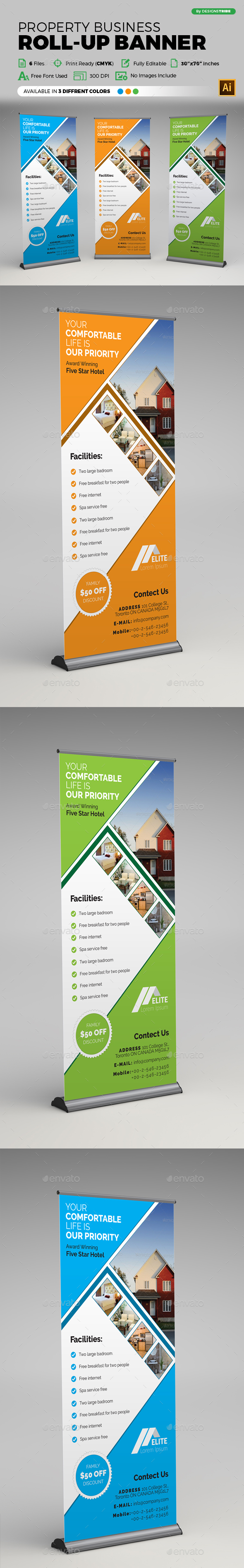 Property Business Roll-up Banner - Signage Print Templates