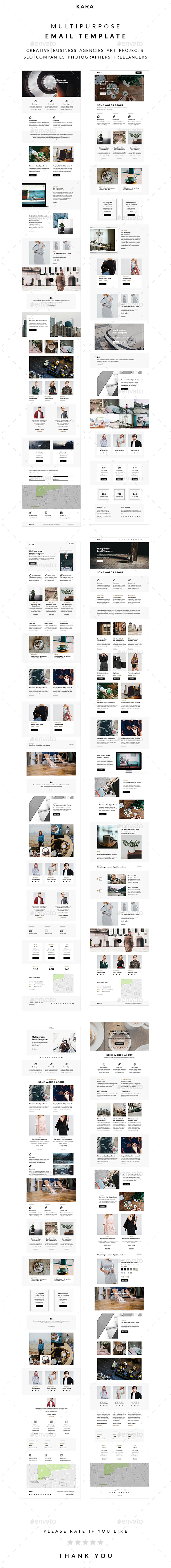 Kara – Multipurpose Email Template - E-newsletters Web Elements