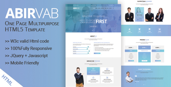 ABIRVAB - One Page Multipurpose HTML5 Template