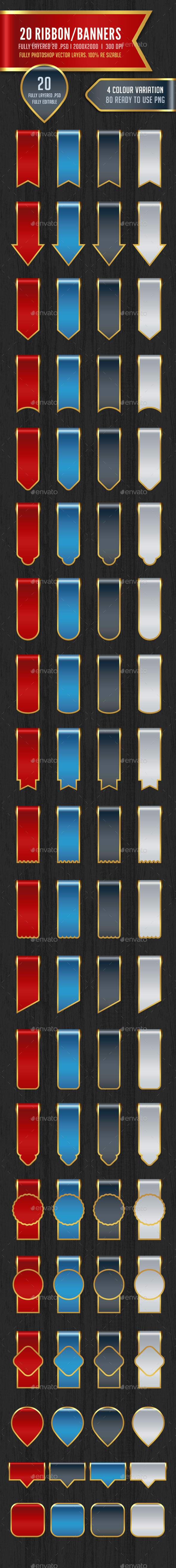 80 Ribbon / Banners - Badges & Stickers Web Elements