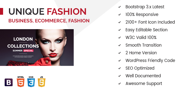 Unique Fashion Multipurpose eCommerce HTML Template