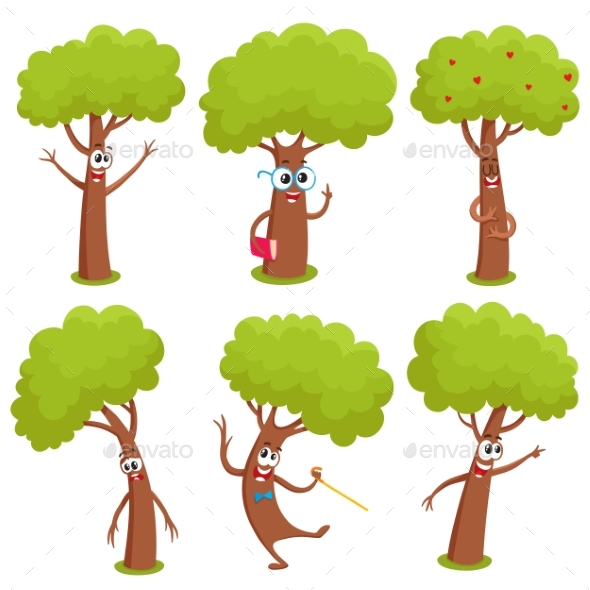 Set of Comic Tree Characters - Flowers & Plants Nature