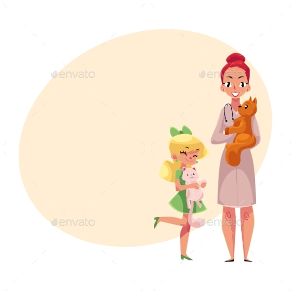 Female Veterinarian Doctor and Little Kid - People Characters