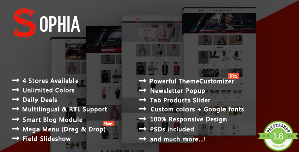 Sophia – Fashion Clothes, Dress Responsive Prestashop Theme