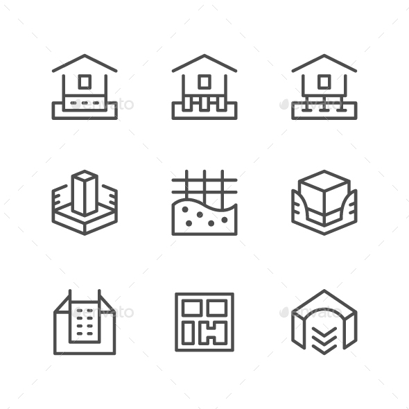 Set Line Icons of House Foundation - Man-made objects Objects