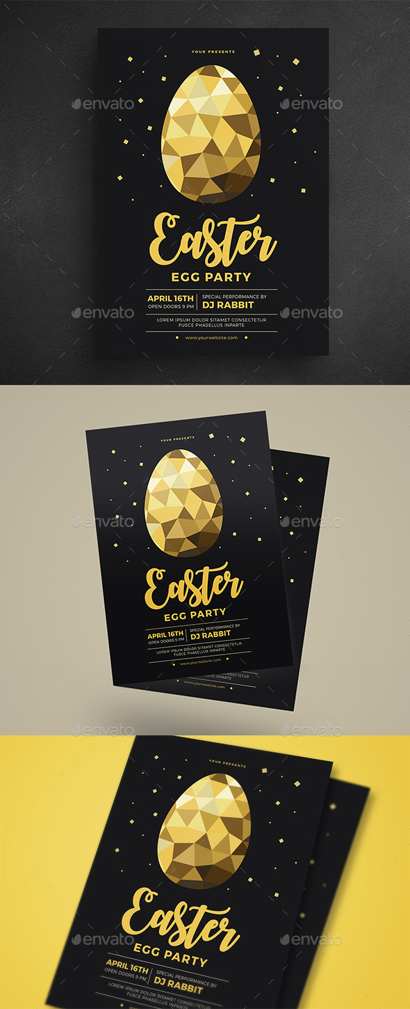 Gold Easter Egg Hunt Party Flyer - Events Flyers