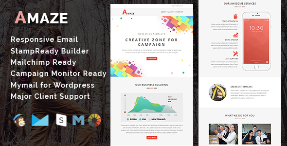 AMAZE – Multipurpose Responsive Email Template With Stamp Ready Builder Access