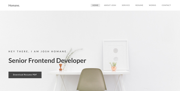 Homane - Minimal Resume HTML Template - Personal Site Templates
