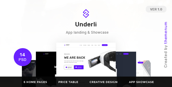 App Landing Page & Product Showcase PSD Template | Themenum