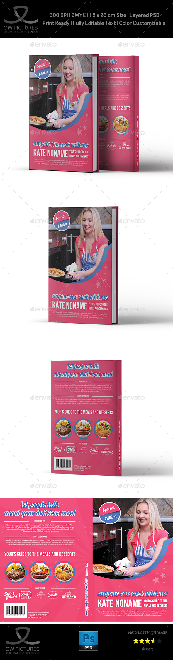 Cooking Book Cover Template Vol.3 - Miscellaneous Print Templates
