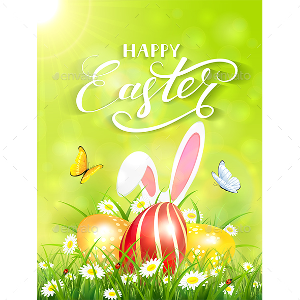Green Background with Rabbit and Three Easter Eggs in Grass - Miscellaneous Seasons/Holidays