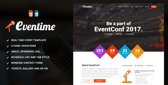 Eventime –  Conference & Event HTML Template