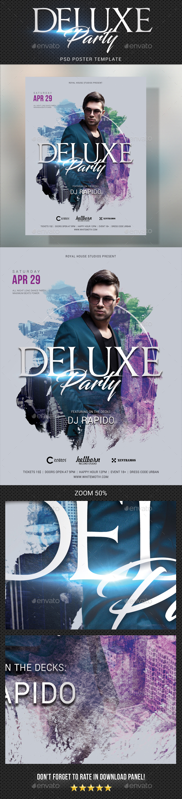 Deluxe Dj Party Poster - Signage Print Templates
