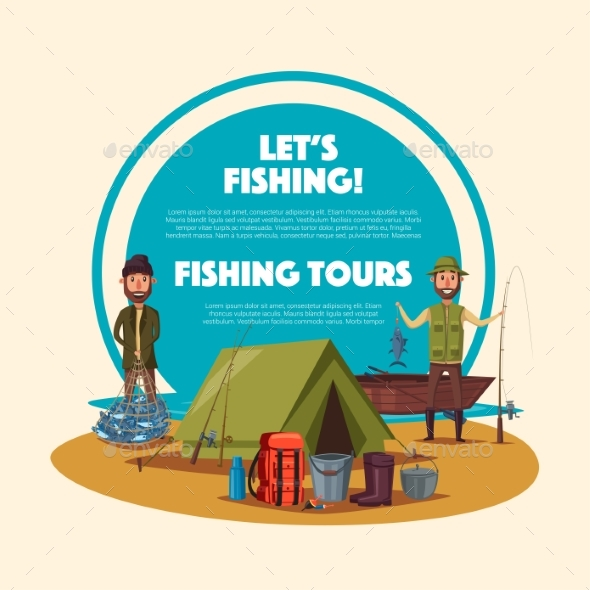 Fishing Tour Cartoon Poster with Fisherman Camp - Sports/Activity Conceptual