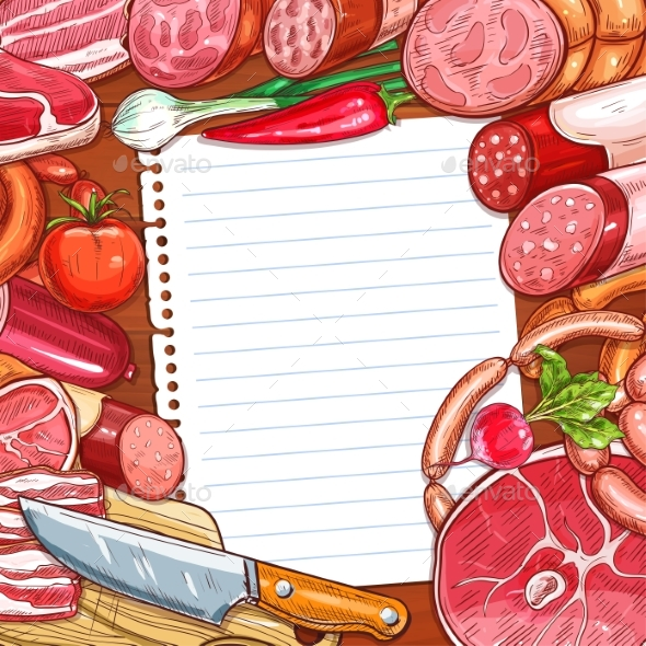 Meat and Sausages with Recipe or Menu Blank Paper - Food Objects